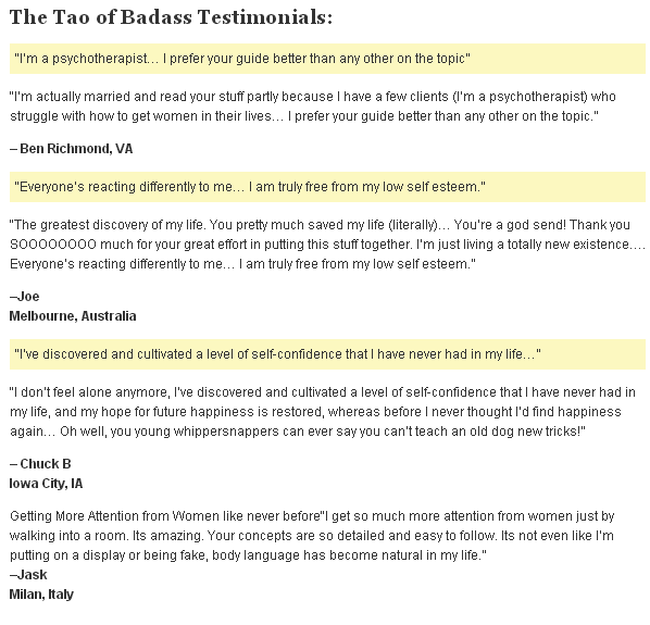 the tao of badass testimonials